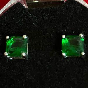 Emerald Princess Cut Earrings 925 Sterling 2CTTW